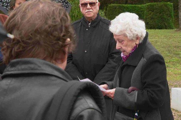 Odette Delvaux à la commémoration en mémoire aux victimes de l'incendie du 5-7