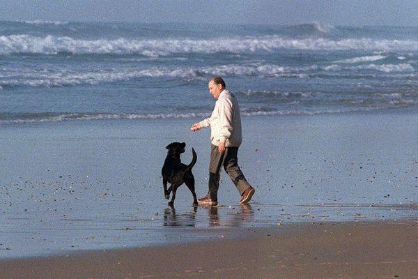 Le président de la République François Mitterrand montre un caillou à son chien Baltique avant de le lancer dans la mer, le 04 janvier 1990, à Latché, où il a reçu le chancelier ouest-allemand Helmut Kohl.