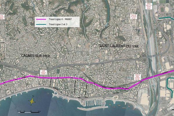 En rose sur la carte, voici le tracé de la future ligne 4 entre Cagnes-sur-Mer et Nice ouest.