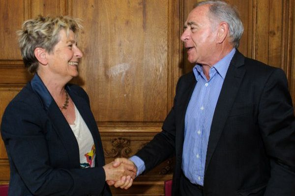 Marie-Guite Dufay et François Patriat, les présidents des régions Franche-Comté et Bourgogne