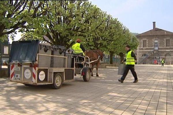 L'attelage à cheval et la collecte des déchets à Besançon