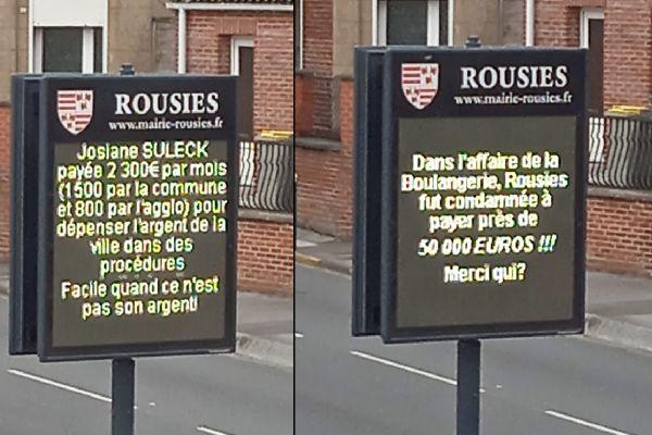 Samedi 1er mai, trois messages vindicatifs ont été affichés sur ce panneau, en face de la mairie.