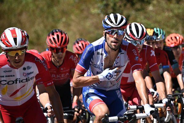 Thibaut Pinot au sein du peloton lors de la quatrième étape du Critérium du Dauphiné samedi 15 août.