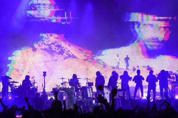 Damon Albarn de Gorillaz au Festival LA, au Pico Rivera Arena and Ground à Los Angeles, 20 octobre 2018.