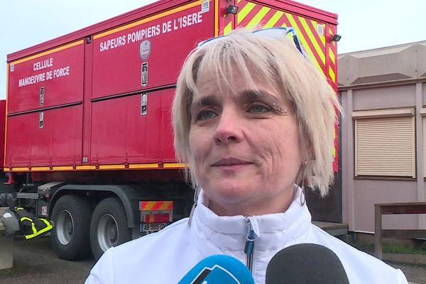 Magali Guillot, interviewée en 2020 au sujet de l'incendie d'un collège à Saint-Jean-de-Soudain.