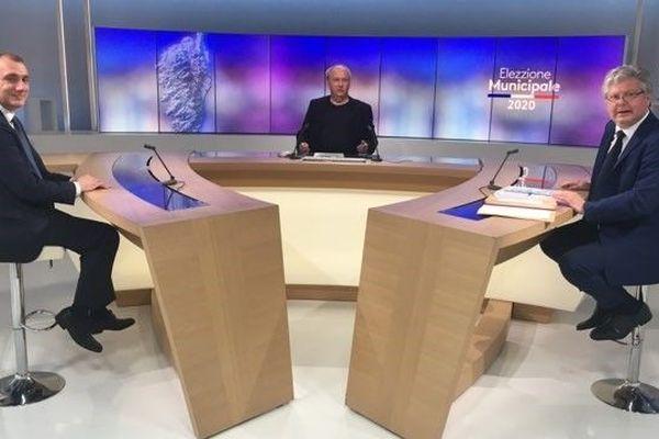 Les deux candidats à la mairie de Porto-Vecchio à quelques minutes du débat.