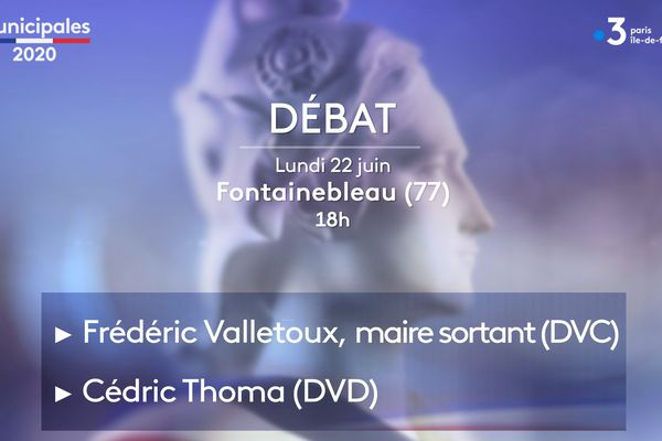 Les candidats à Fontainebleau (Seine-et-Marne) Frédéric Valletoux et Cédric Thomas débattent ce lundi 22 juin.