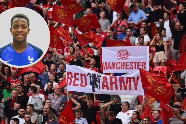 Noam Emeran rejoindra le centre de formation de Manchester United à partir de janvier 2019, selon le quotidien anglais le Daily Mail (en arrière-plan, les supporters de Manchester United le 24 avril 2018 au Wembley Stadium face à Tottenham).