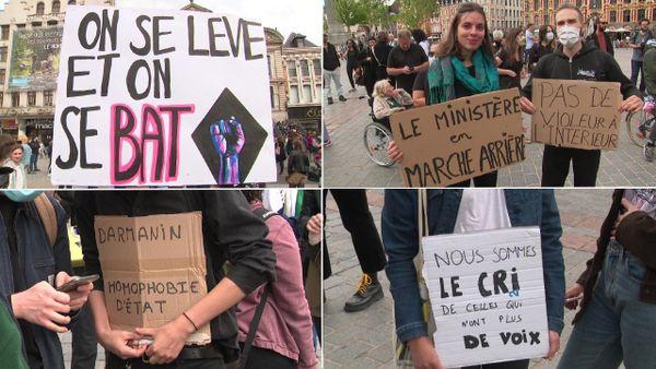 """""""On se lève et on se bat"""", """"Pas de violeur à l'intérieur"""", ... de nombreux manifestants portaient des pancartes aux slogans hostiles aux deux ministres."""