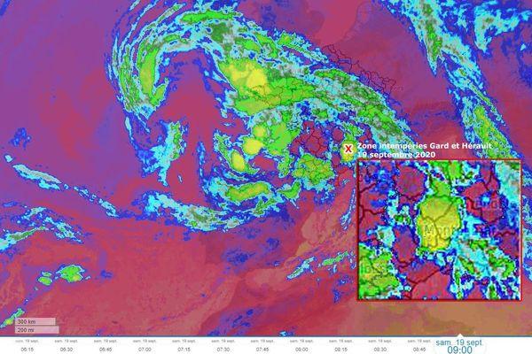 Image satellite du phénomène cyclonique venu de l'océan Atlantique samedi 19 septembre 2020 qui a engendré de violentes intempéries au pied des Cévennes dans les départements du Gard et de l'Hérault en France.