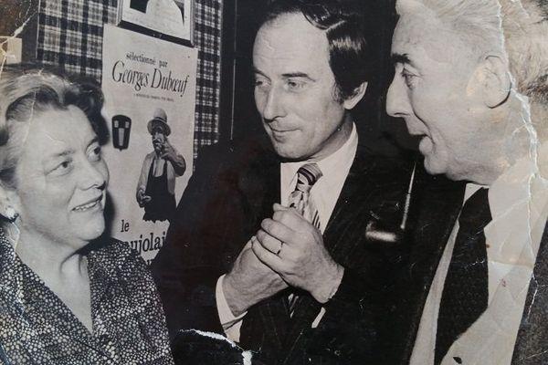 """Gaetane, l'ancienne patronne du """"Glasgow"""" , ici avec Roger Rocher (à droite)  , l'ancien dirigeant du club pendant vingt ans (1961/1982)"""