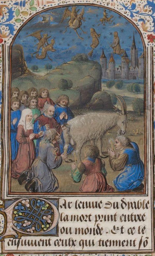 """Extrait du """"Traittié du crisme de vauderie"""" (1460) montrant une scène de sabbat."""