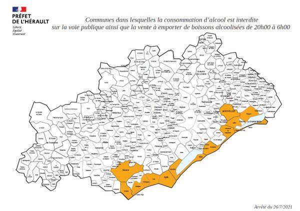 Communes dans lesquelles la consommation d'alcool est interdite sur la voie publique ainsi que la vente à emporter de boissons alcoolisées de 20h00 à 6h00.