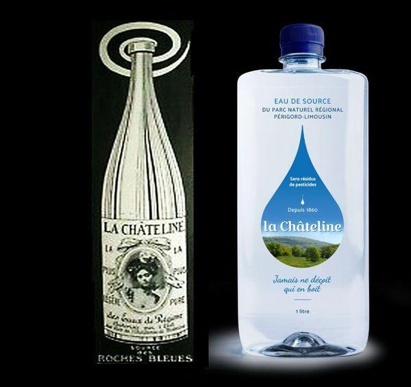 160 ans séparent ces deux bouteilles, mais le contenu reste le même, de l'eau, toujours de l'eau et rien que de l'eau naturelle