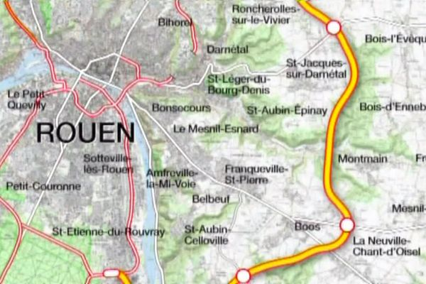 Aperçu d'une partie du tracé du projet de contournement Est de Rouen par une autoroute à péage