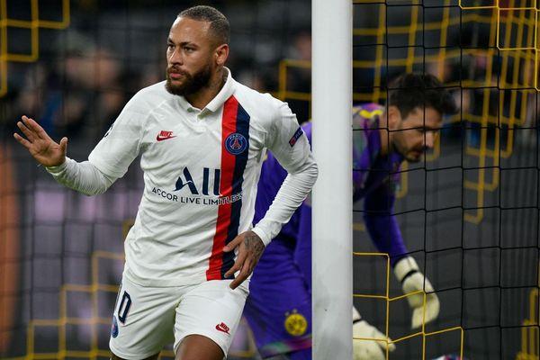Neymar, après le but de l'égalisation face à Dortmund, lors du match aller.