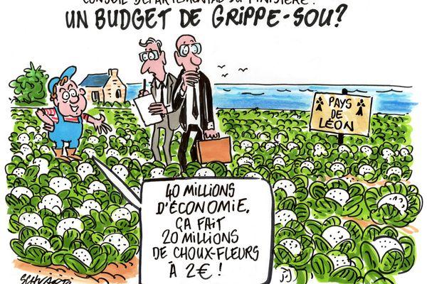 Notre dessinateur revient avec humour sur le plan de rigueur annoncée par le nouveau président du département du Finistère , Maël de Calan.