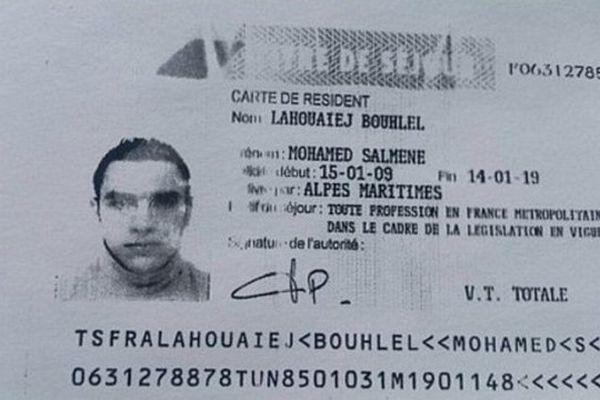 La carte de séjour de Mohamed Lahouaiej Bouhlel, auteur de l'attentat de Nice.