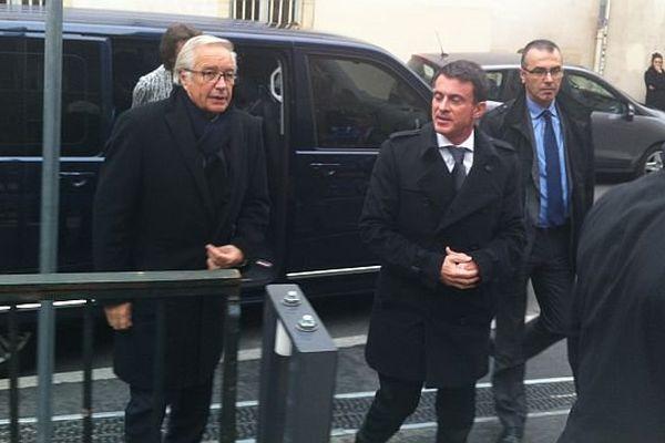 Manuel Valls et François Rebsamen à Dijon le 13 novembre 2015
