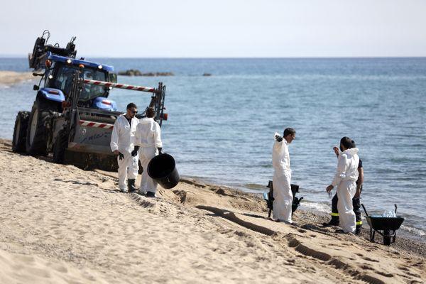Lundi 14 Juin 2021, plage de Scaffa Rossa à Solaro (Haute-Corse) : les opérations de nettoyage ont commencé pour retirer les boulettes d'hydrocarbures qui s'agglomèrent au sable.
