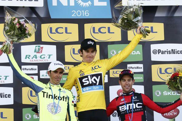 Le podium du Paris-Nice 2016 avec Geraint Thomas, Alberto Contador et Richie Porte.