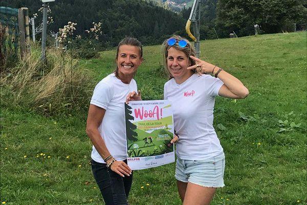 Virginie et Hélène, les fondatrices de ce premier trail alsacien 100% duo féminin en plein préparatifs au champ du feu