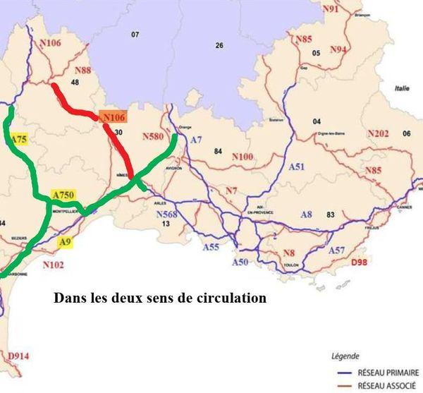 Pour contourner la 106, en Lozère, les chauffeurs doivent emprunter l'A750 ou l'A9 - juin 2020
