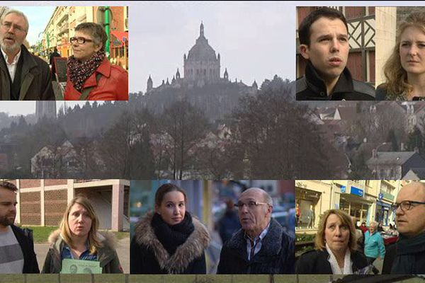 A gauche, Olivier Truffaut et Valérie Burel pour le PS, Johann Le Bellec et Sabrina Demchi pour le NPA. A droite, Benjamin Piel et Marie Gaugain pour le FN, Sylvie Grandin et Johnny Briard pour l'UDI. en bas, au milieu, le binôme divers droite Angélique Périni et Bernard Aubril