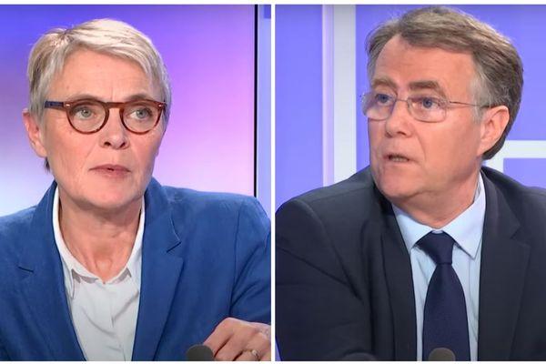 Nathalie Kerrien et Serge Grouard, lors du débat de France 3 Centre-Val de Loire avant le 1er tour des élections municipales de 2020.