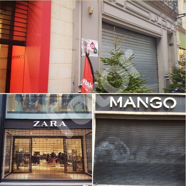 Plusieurs magasins ont baissé le rideau en prévention d'éventuels dégats ou pillages