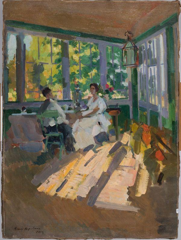 Korovine Constantin Alexeïevitch (1861-1939) - La Véranda - daté « Const. Korovine 1922 » en bas à droite 87 x 64,5 cm.