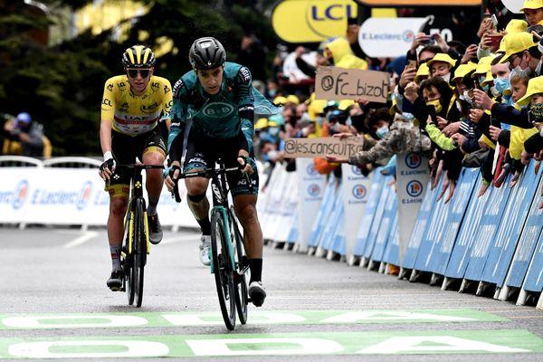 Le Costarmoricain Franck Bonnamour (B&B Hotels KTM's), 5eme de la 9e étape à Tignes devant le maillot jaune, le Slovène Tadej Pogacar
