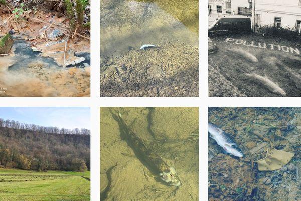 Les pollutions des cours d'eau dénoncées par SOS Loue et rivières comtoises sur son compte Instagram