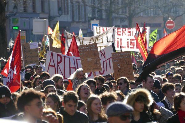 6 février 2020, manifestation contre la réforme des retraites à Strasbourg