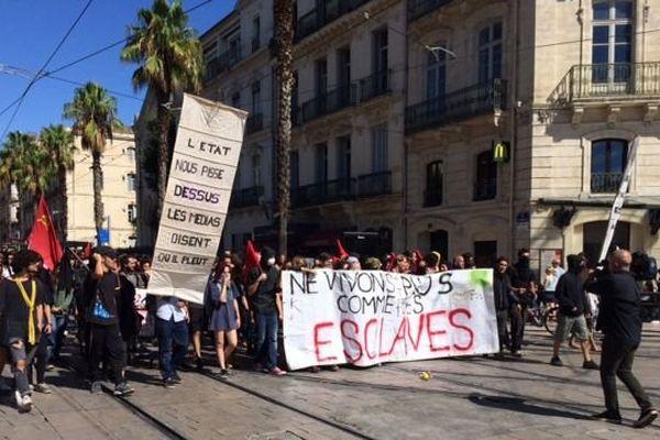 Début du cortège des manifestants contre la loi travail à Montpellier.15 septembre 2016
