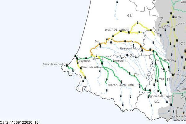 Les secteurs placés en vigilance orange par Vigicrues figurent sur la carte ci-dessous.