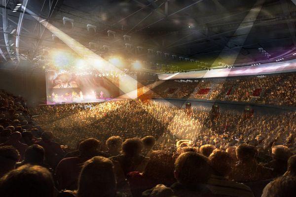 Visualisation du futur complexe culturel et sportif de Chartres, en configuration spectacle.