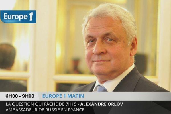 """Alexandre Orlov ambassadeur de Russie à Paris au micro d'Europe 1 : """"la livraison du Vladivostok n'est pas en core hors délais""""."""