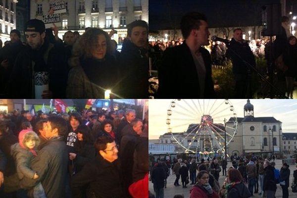 Lors des rassemblements en hommage aux victimes de l'attaque contre Charlie Hebdo le mercredi 7 janvier 2015