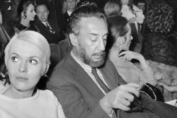 Jean Seberg et Romain Gary le 18 janvier 1968 à l'Olympia, à un récital de Charles Aznavour.