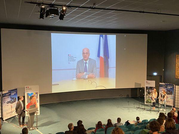 Le ministre de l'éducation Jean-Michel Blanquer s'est adressé en visioconférence aux jeunes écoconseillers bretons