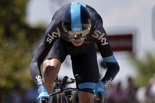 Christopher Froome (SKY) sur l'épreuve du contre la montre du Critérium du Dauphiné.