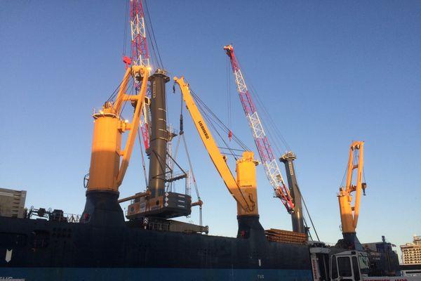 Les nouvelles grues du port de Nantes-Saint-Nazaire, le 10 décembre 2020