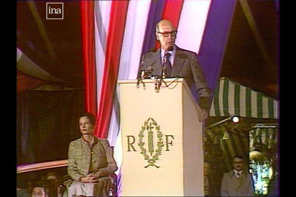 Le Président de la République Valéry Giscard d'Estaing à Verdun-sur-le-Doubs, le 27 janvier 1978 (archives)