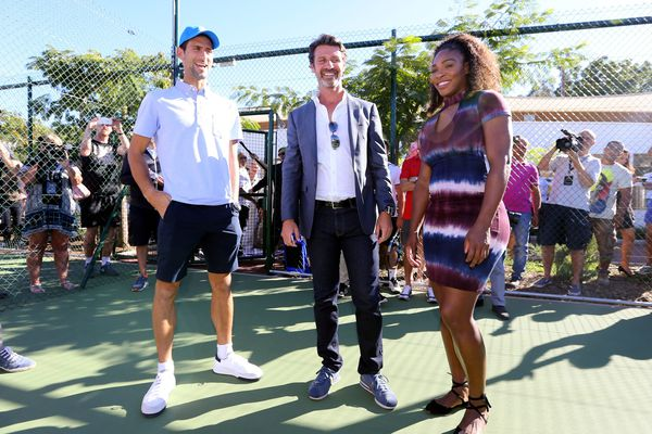 Novak Djokovic, Serena Williams sont montés au filet pour l'inauguration de la Mouratoglou Tennis Academy.