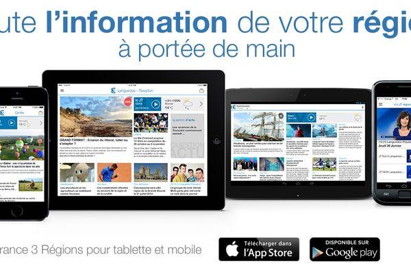 """Aperçu de l'application """"France 3 Régions"""" sur smartphone et tablette"""