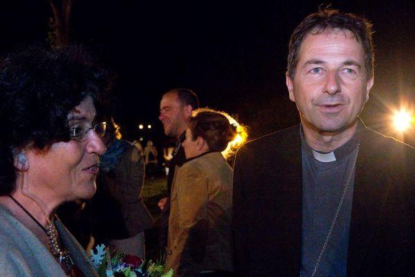 """Mgr Thierry Brac de la Perrière, évêque de Nevers, en juillet 2016 à la première du spectacle """"Bernadette"""" qui commémore les 150 ans de l'arrivée de Bernadette Soubirous à la congrégation des sœurs de la charité à Nevers."""