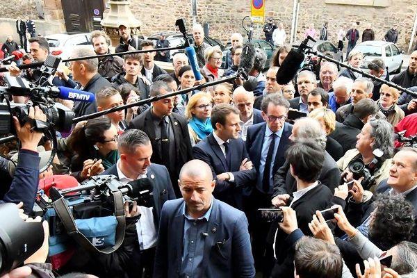 Emmanuel Macron à Rodez, lors de la campagne de l'élection présidentielle, en 2017.