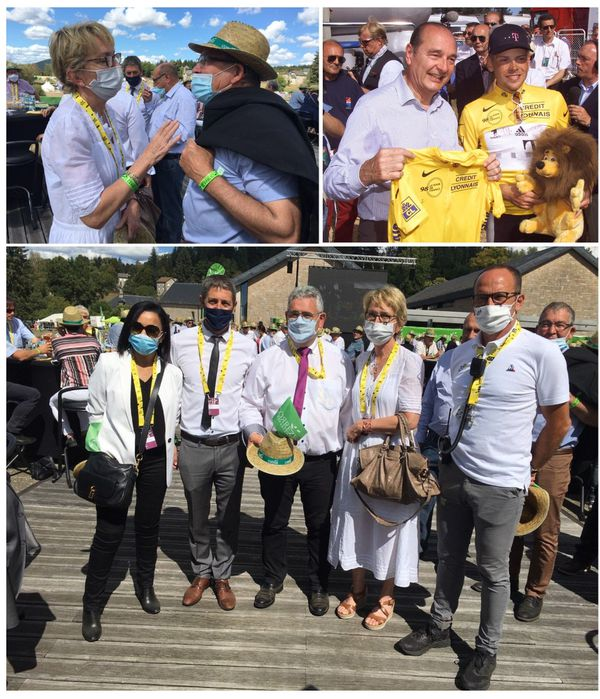 Jacques Chirac s'était notamment rendu sur le Tour de France en juillet 1998 sur le contre-la-montre entre Meyrignac-l'Église et Corrèze.  En compagnie de Claude Chirac : Salima Saa (préfète de la Corrèze), Christophe Jerretie,(député LREM de Corrèze), Pascal Coste (président du Conseil départemental) et Stéphane Boury (responsable des sites d'arrivées du Tour de France ASO)