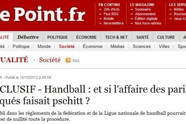 Capture d'écran du site lepoint.fr